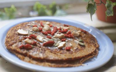 Chai spiced banana oat pancakes